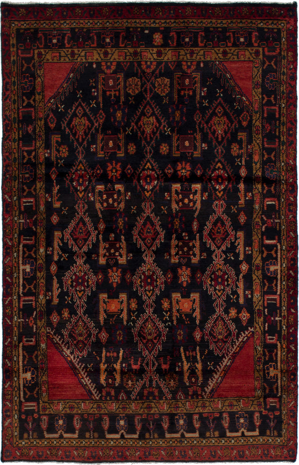 Hand-knotted  Bordered  Traditional Darjazin Area rug  Dark Navy 4.4 x 6.9
