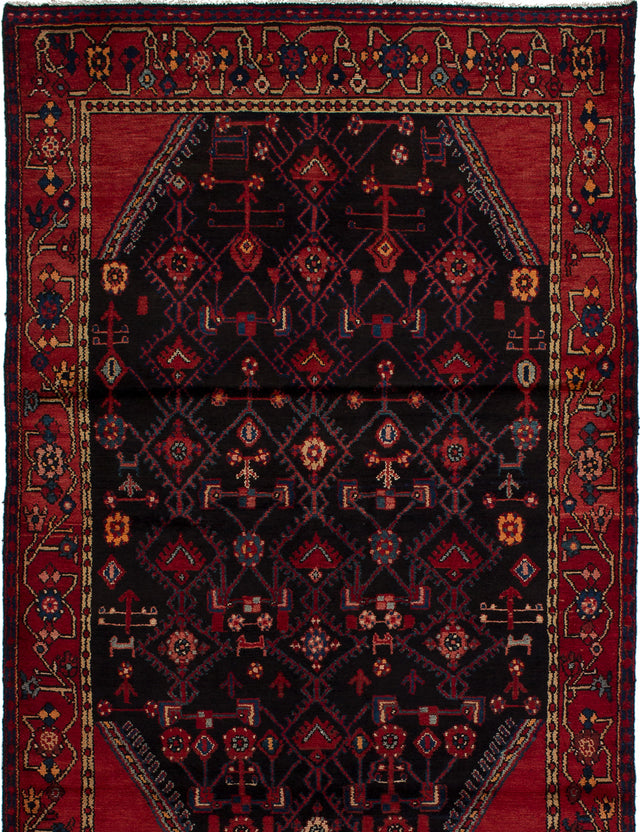 Hand-knotted  Bordered  Traditional Touserkan Area rug  Black, Red 4.7 x 6.8