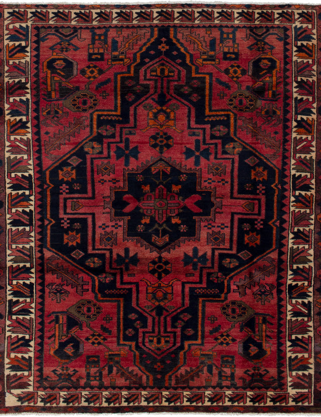 Hand-knotted  Bordered  Traditional Bakhtiar Area rug  Light Red 5.4 x 6.7