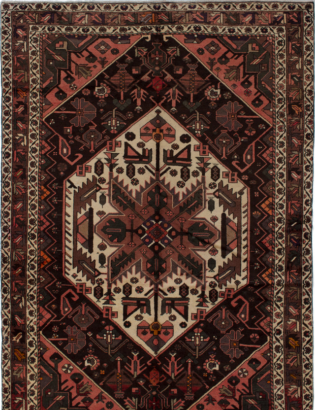 Hand-knotted  Bordered  Traditional Bakhtiar Area rug  Copper, Dark Brown 7 x 10.3