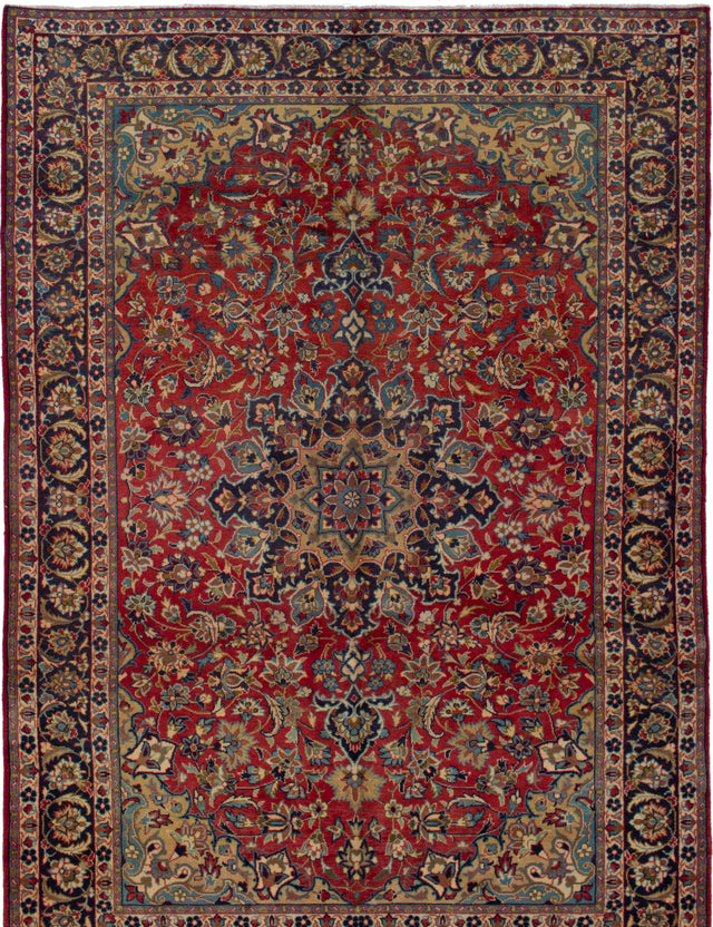Hand-knotted  Bordered  Traditional Isfahan Area rug  Red 6.11 x 9.1