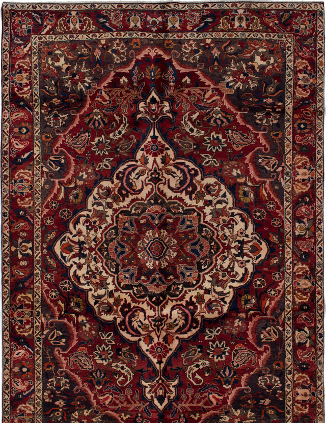 Hand-knotted  Bordered  Traditional Bakhtiar Area rug  Dark Red 7.1 x 10.11