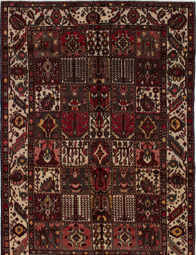 Hand-knotted  Bordered  Traditional Bakhtiar Area rug  Dark Red 7.1 x 10.2