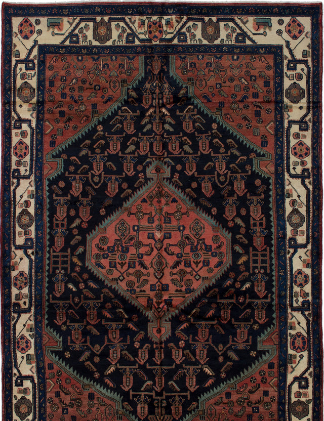Hand-knotted  Bordered  Traditional Hamadan Area rug  Copper, Dark Navy 6.6 x 9.11
