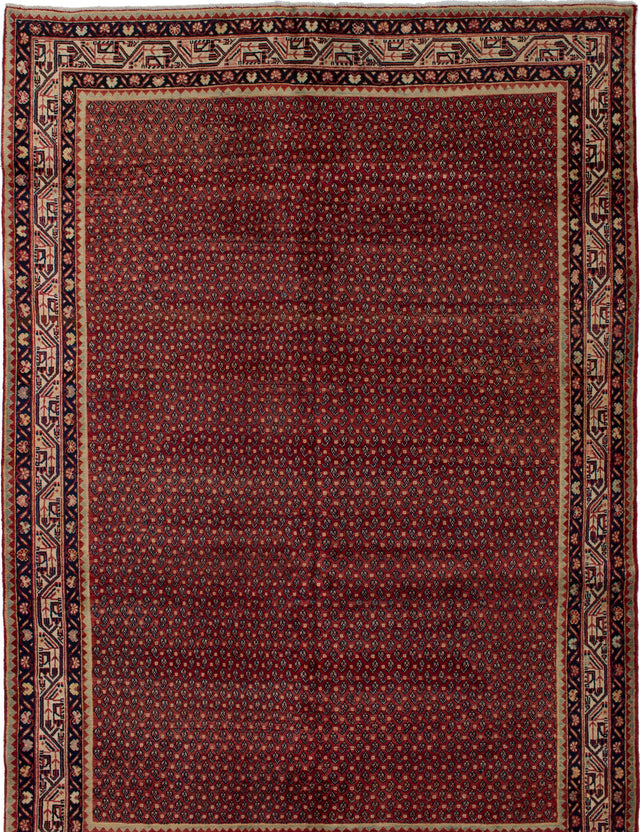 Hand-knotted  Bordered  Traditional Arak Area rug  Red 7 x 10.2