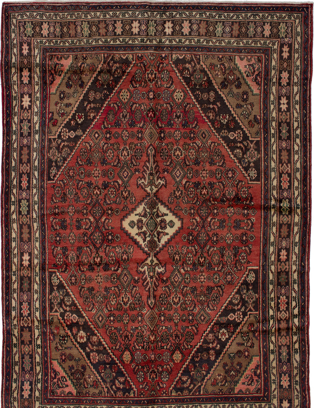 Hand-knotted  Bordered  Traditional Hamadan Area rug  Dark Copper 7 x 10.1