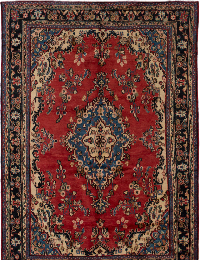 Hand-knotted  Bordered  Traditional Hamadan Area rug  Dark Copper 6.11 x 9.9