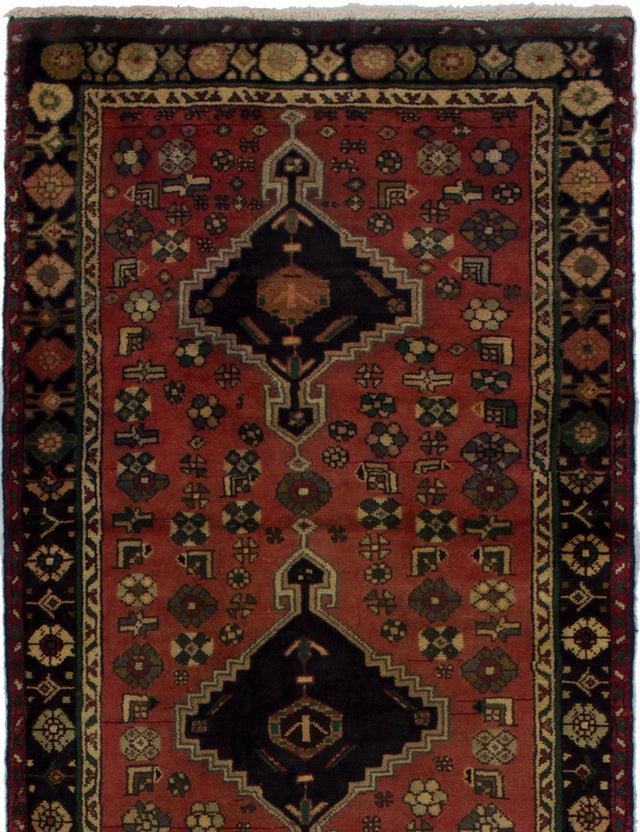 Hand-knotted  Bordered  Vintage Persian-Vintage Runner rug  Dark Copper 3 x 7.4