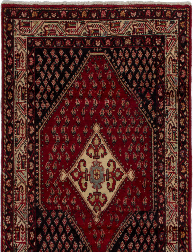Hand-knotted  Bordered  Vintage Persian-Vintage Area rug  Red 3.1 x 6.2