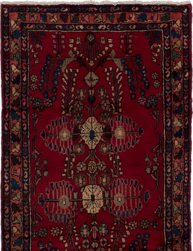 Hand-knotted  Bordered  Traditional Hamadan Area rug  Red 3.5 x 6.2