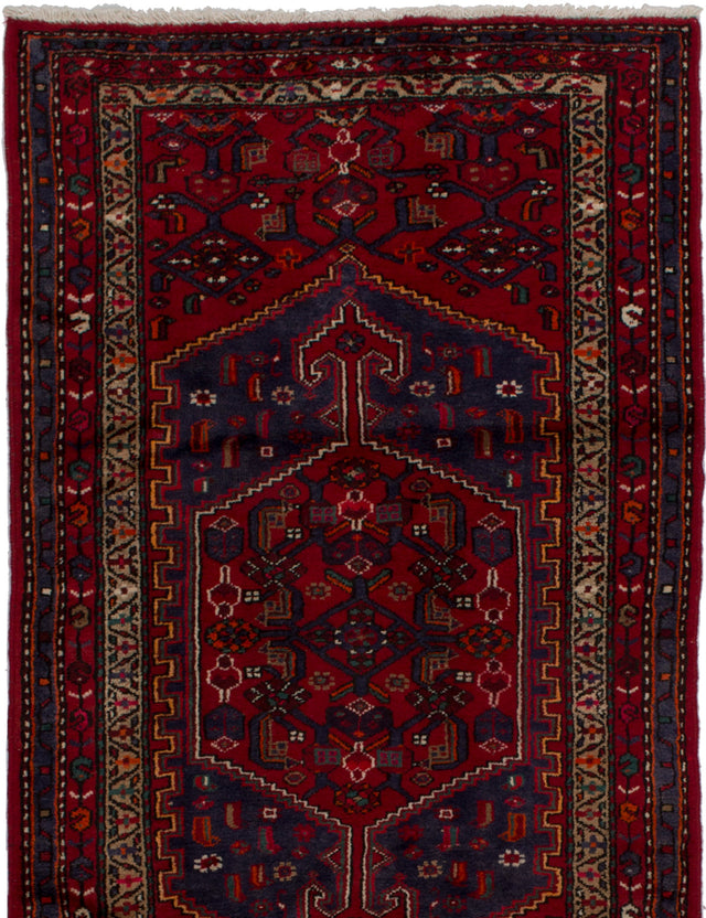 Hand-knotted  Bordered  Traditional Hamadan Area rug  Red 3.5 x 6.3