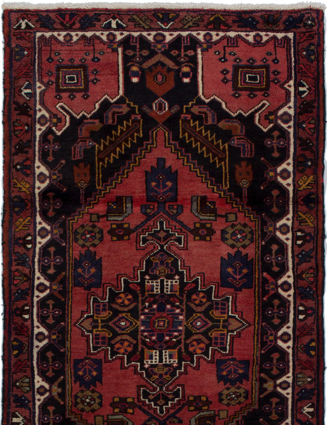 Hand-knotted  Bordered  Traditional Hamadan Area rug  Dark Copper 3.5 x 6.7
