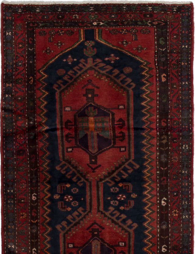 Hand-knotted  Bordered  Traditional Hamadan Area rug  Dark Copper, Dark Navy 3.4 x 6.8