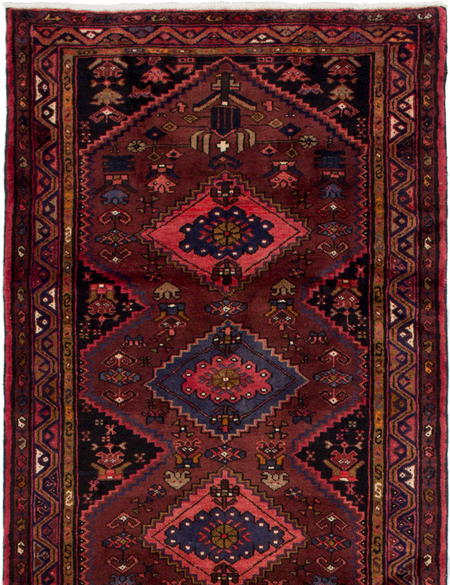 Hand-knotted  Bordered  Persian Hamadan Area rug  Dark Red 3.9 x 6.8