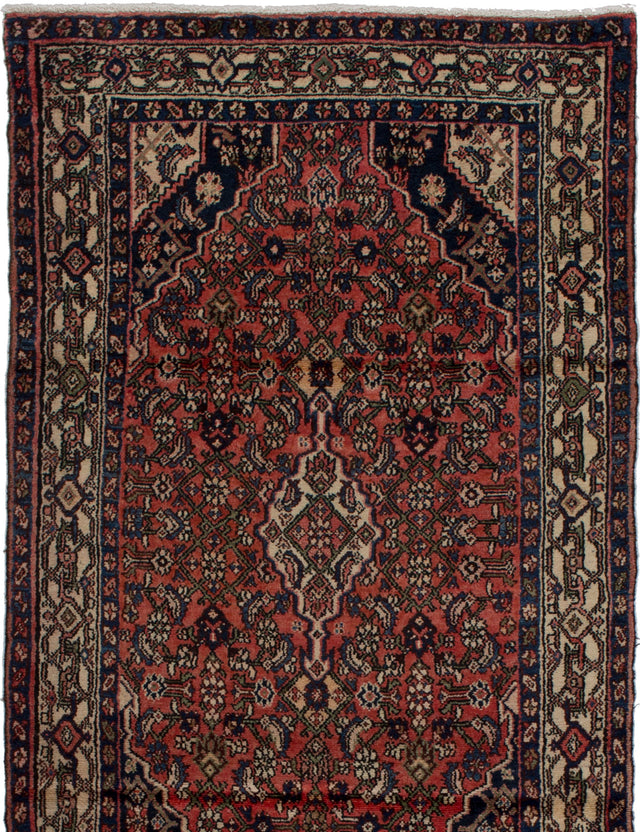 Hand-knotted  Bordered  Traditional Hamadan Area rug  Dark Copper 3.1 x 6.7