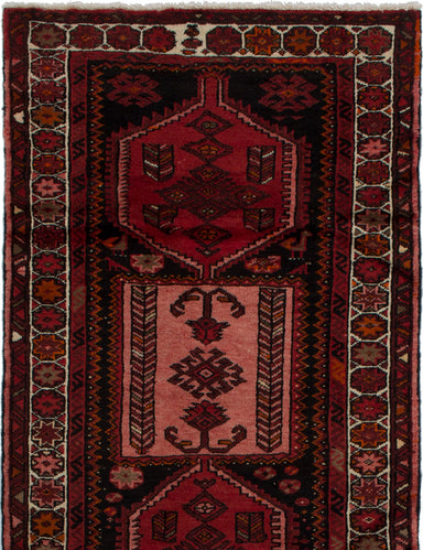 Hand-knotted  Bordered  Persian Hamadan Area rug  Black, Red 3.6 x 6