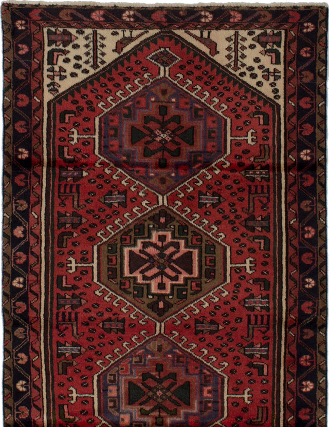 Hand-knotted  Bordered  Persian Hamadan Area rug  Red 3.1 x 6.4