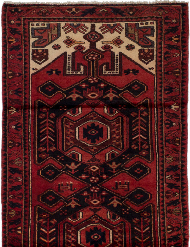 Hand-knotted  Bordered  Persian Hamadan Area rug  Red 3.4 x 6.8