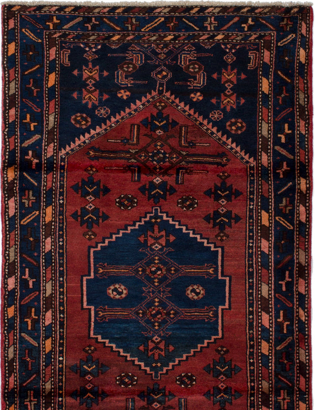 Hand-knotted  Bordered  Traditional Hamadan Area rug  Dark Blue, Dark Copper 3.7 x 6.1