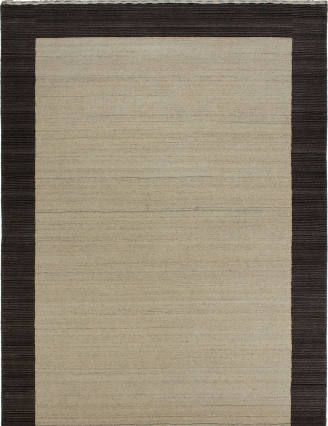Hand-knotted Indian Contemporary  Solid Luribaft-Gabbeh-Riz Area rug  Cream 5.7 x 8.2