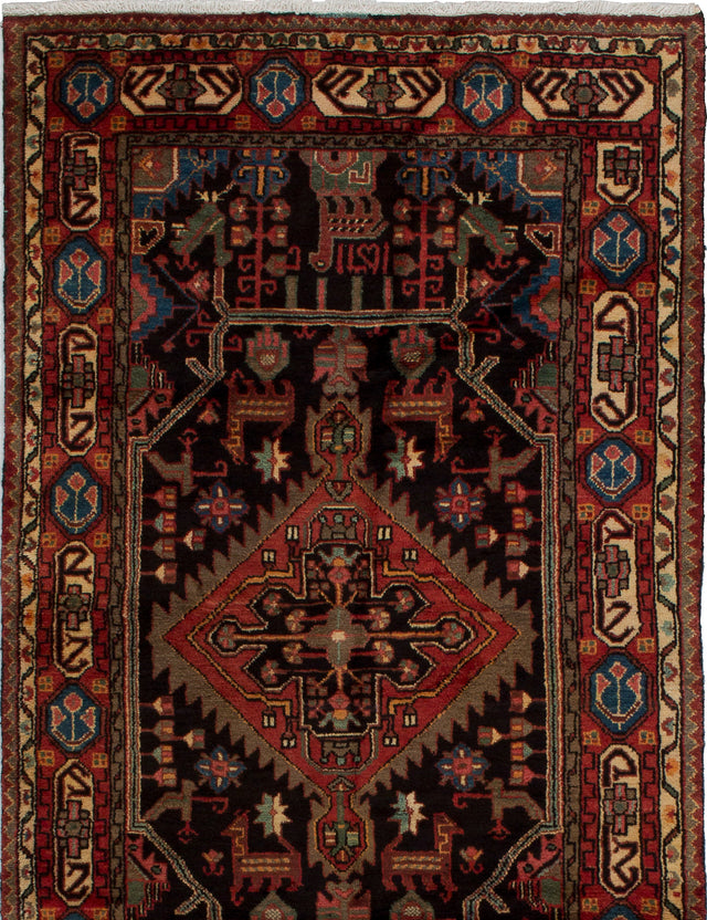 Hand-knotted  Bordered  Traditional Darjazin Area rug  Dark Brown, Dark Copper 4 x 7.2