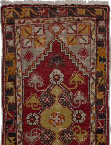 Hand-knotted Turkish Bordered  Vintage Keisari-Vintage Area rug  Dark Red 2.6 x 5.6