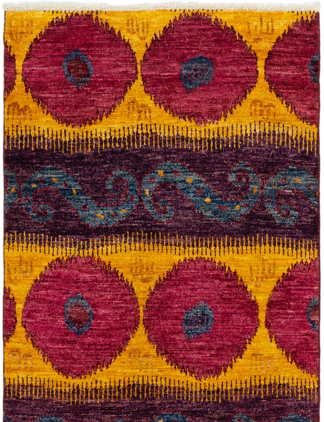 Hand-knotted Indian Casual  Transitional Shalimar Area rug  Purple, Red 4.1 x 6.3