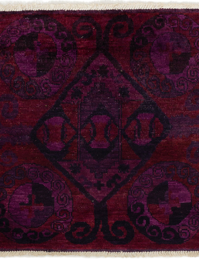 Hand-knotted Indian Bordered  Transitional Vibrance Area rug  Purple 4 x 4