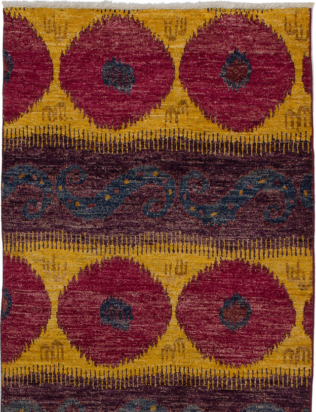 Hand-knotted Indian Casual  Transitional Shalimar Area rug  Dark Red, Purple 4 x 6.2