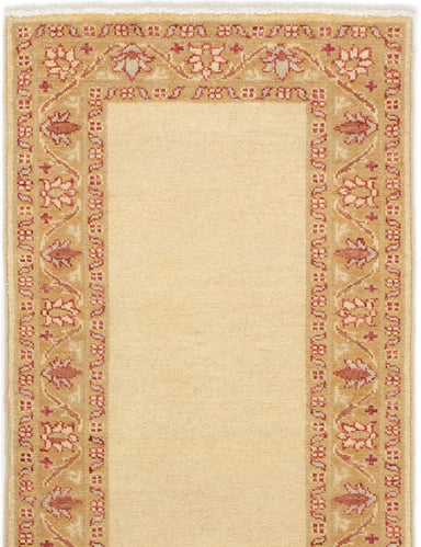 Hand-knotted Afghan Bordered  Traditional Finest-Ziegler-Chobi Runner rug  Cream 2.2 x 5.11