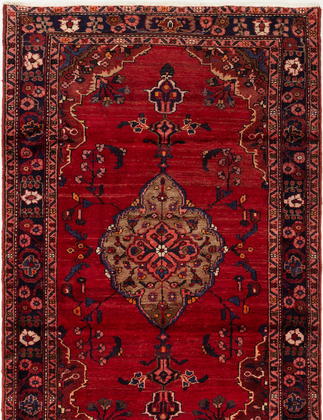 Hand-knotted  Bordered  Vintage Hamadan Area rug  Red 4.7 x 7