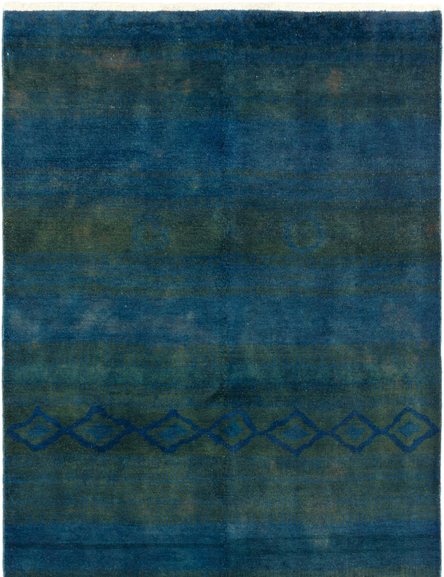 Hand-knotted Area rug Casual, Overdyed Blue