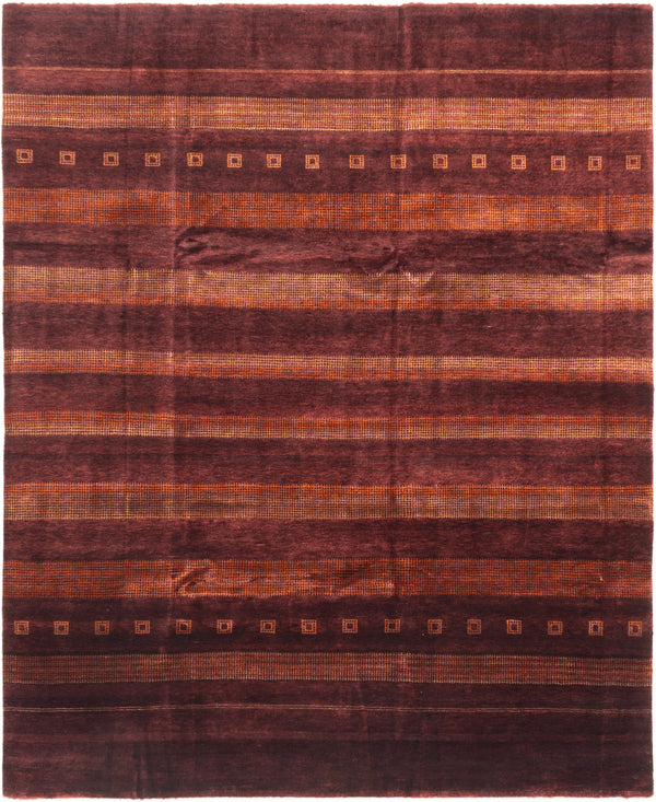 Hand-knotted Area rug Gabbeh, Stripes, Transitional Red