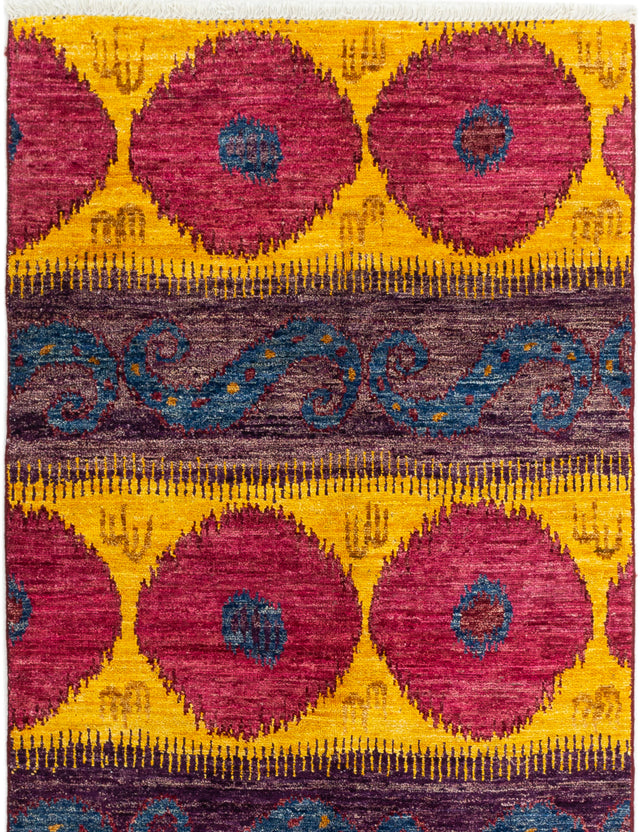 Hand-knotted Indian Casual  Transitional Shalimar Area rug  Purple, Red 4 x 6.2