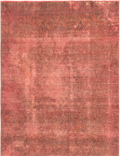 Hand-knotted Turkish Overdyed  Transitional Color-Transition Area rug  Violet 8.6 x 11.6