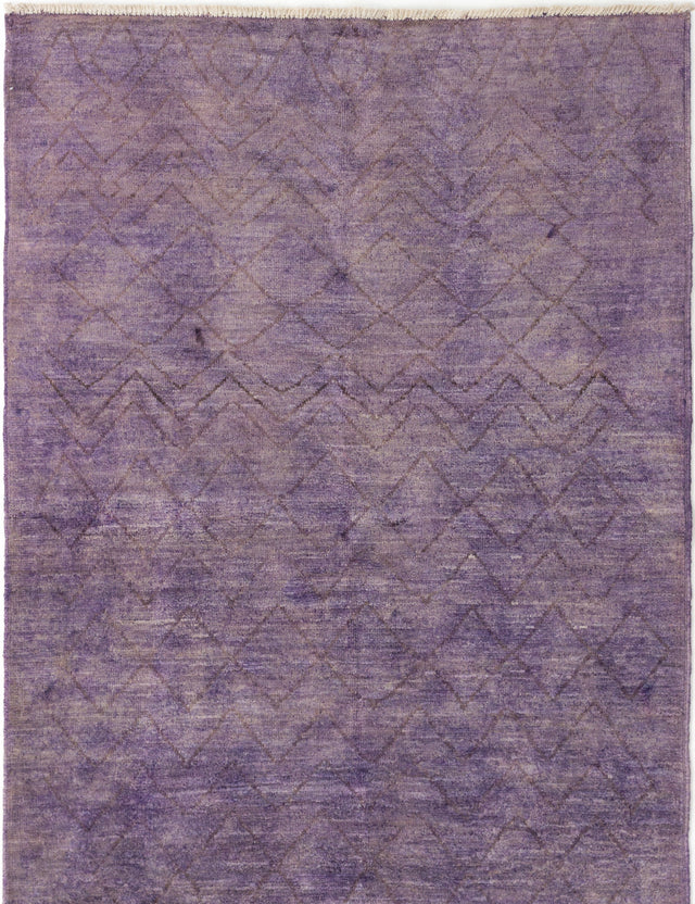 Hand-knotted Indian Casual  Transitional Vibrance Area rug  Purple 5.1 x 8.5