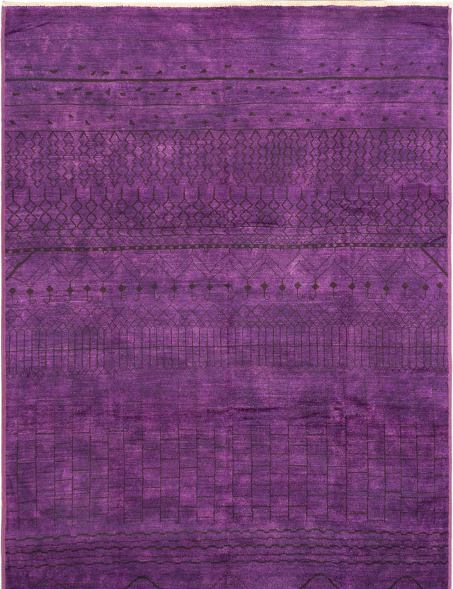 Hand-knotted Indian Casual  Transitional Vibrance Area rug  Purple 9.1 x 13.8