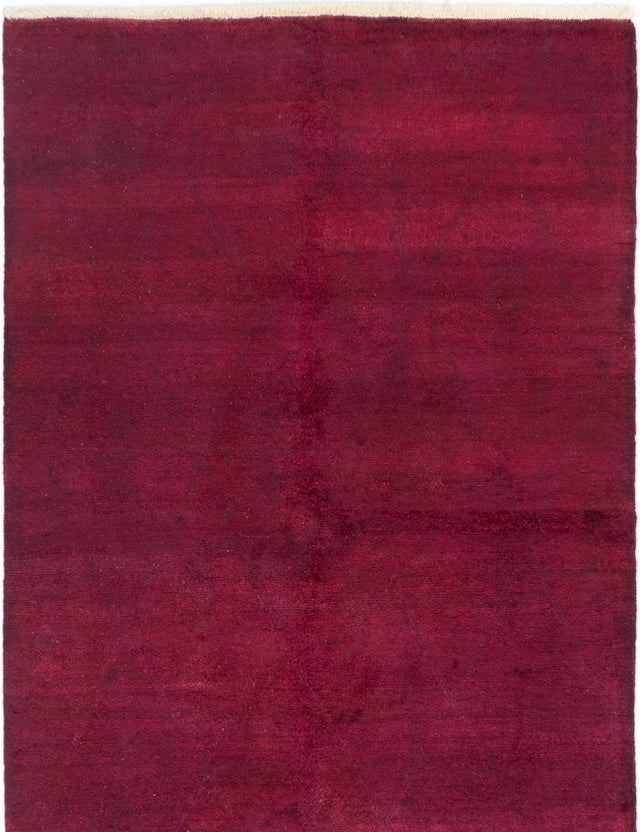 Hand-knotted Area rug Overdyed, Solid Red