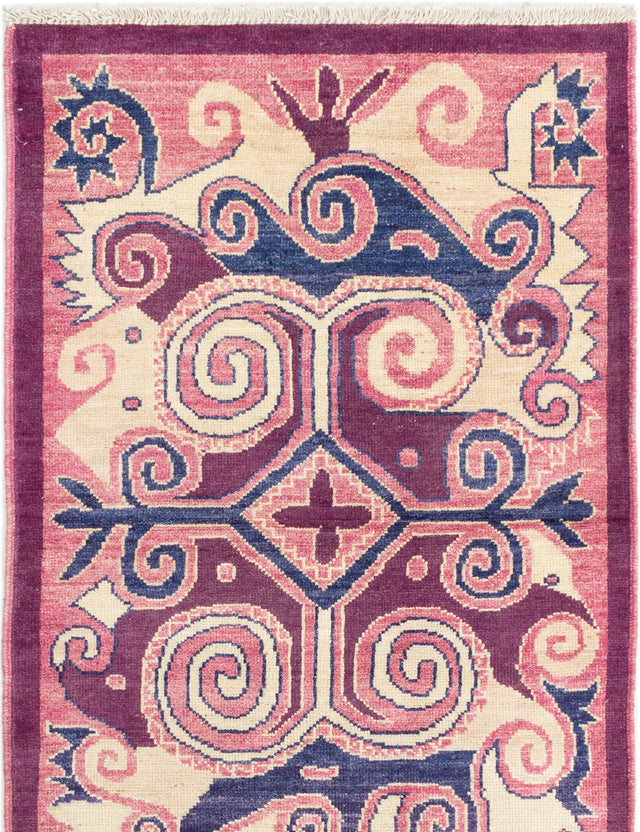 Hand-knotted Indian Casual  Transitional Shalimar Area rug  Purple 4.1 x 6.3