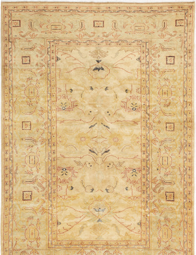 Hand-knotted Turkish Bordered  Traditional Authentic-Ushak Area rug  Cream 5.11 x 8.8
