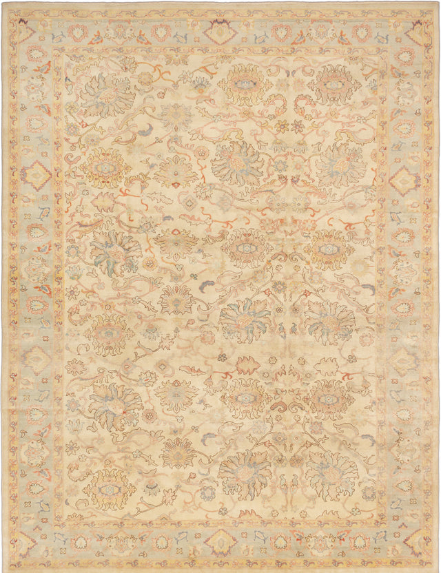 Hand-knotted Turkish Bordered  Floral Authentic-Ushak Area rug  Cream 10.4 x 13.6
