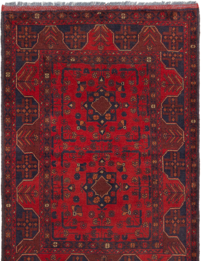 Hand-knotted Afghan Bordered  Tribal Finest-Khal-Mohammadi Area rug  Red 3.4 x 4.11