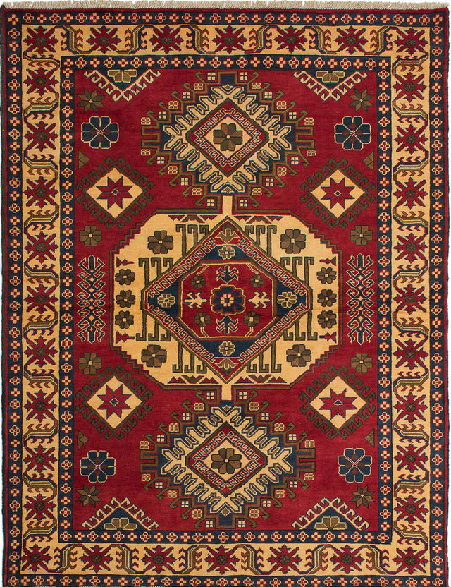 Hand-knotted Afghan Bordered  Geometric Finest-Kargahi Area rug  Red 5.2 x 6.8