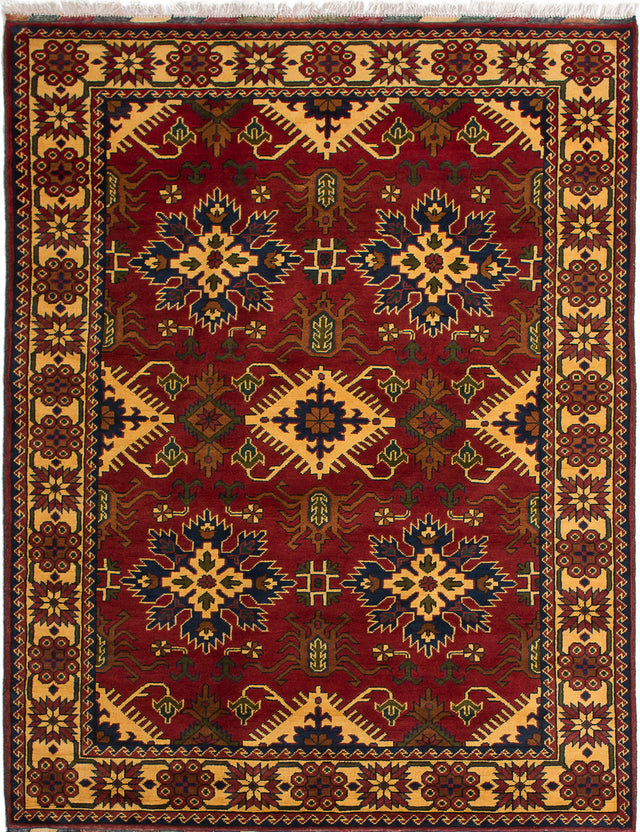 Hand-knotted Afghan Bordered  Geometric Finest-Kargahi Area rug  Dark Red 5.1 x 6.7