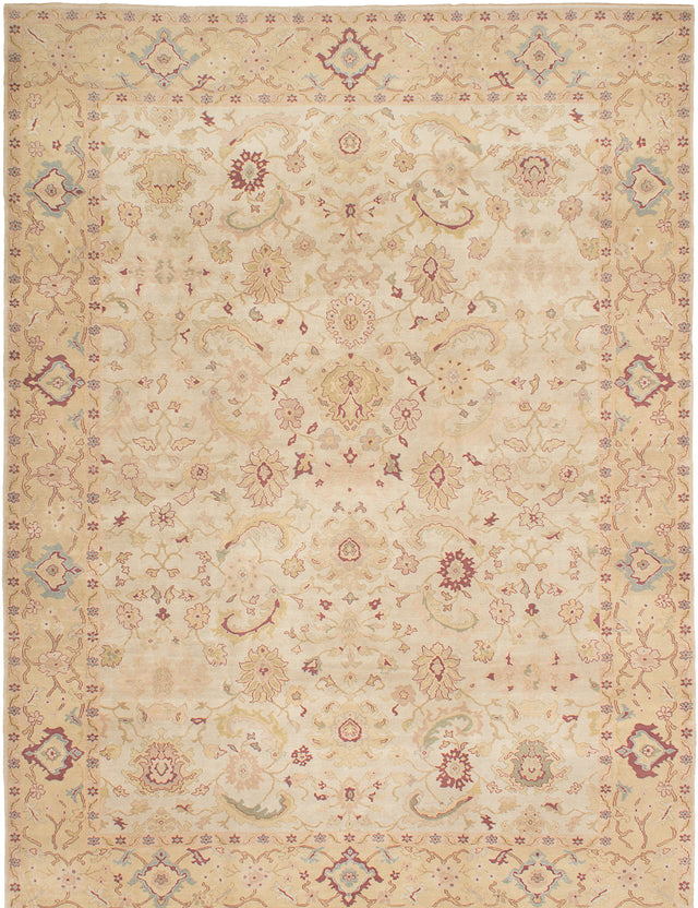 Hand-knotted Turkish Bordered  Floral Authentic-Ushak Area rug  Cream 10.1 x 13.6