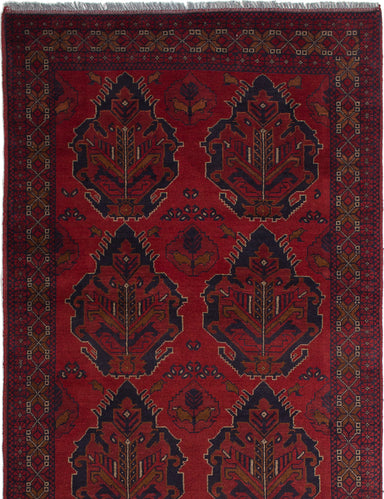 Hand-knotted Afghan Bordered  Tribal Finest-Khal-Mohammadi Area rug  Red 3.11 x 6.6