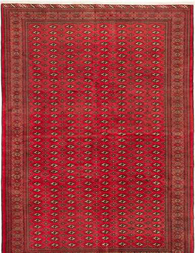Hand-knotted  Bordered  Tribal Turkoman Area rug  Red 6.8 x 9.4