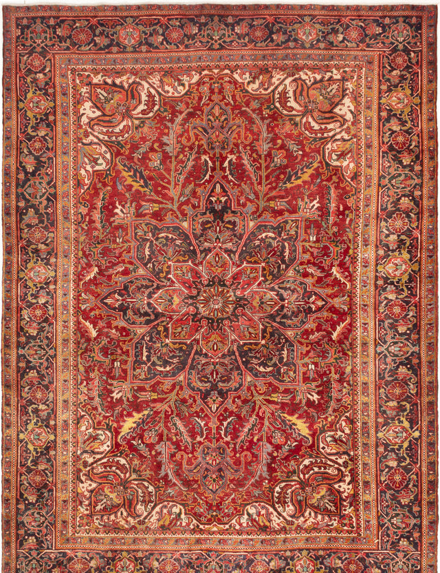 Hand-knotted  Bordered  Traditional Heriz Area rug  Dark Red 7.11 x 10.11