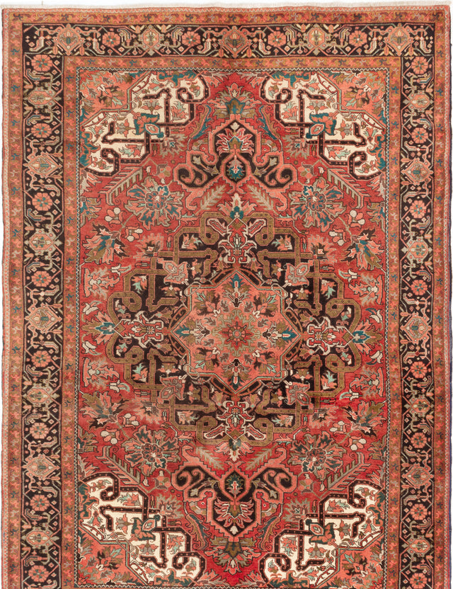 Hand-knotted  Bordered  Traditional Heriz Area rug  Dark Copper 7.9 x 11