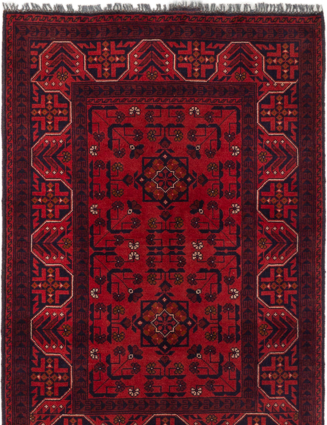 Hand-knotted Afghan Bordered  Tribal Finest-Khal-Mohammadi Area rug  Red 3.4 x 4.1